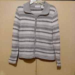 Alfred Dunner Petite PL Cardigan Sweater Zipper